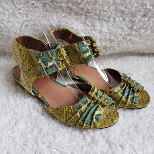 Shelly's London Snakeskin Leather Sandals sz 40
